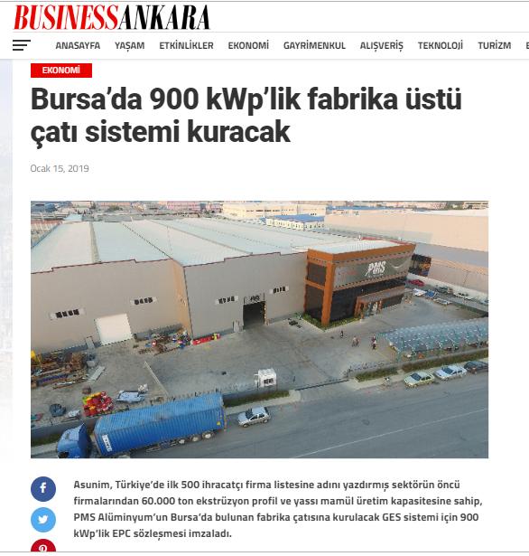 Bursa'da 900 kWp'lik fabrika üstü çatı sistemi kuracak
