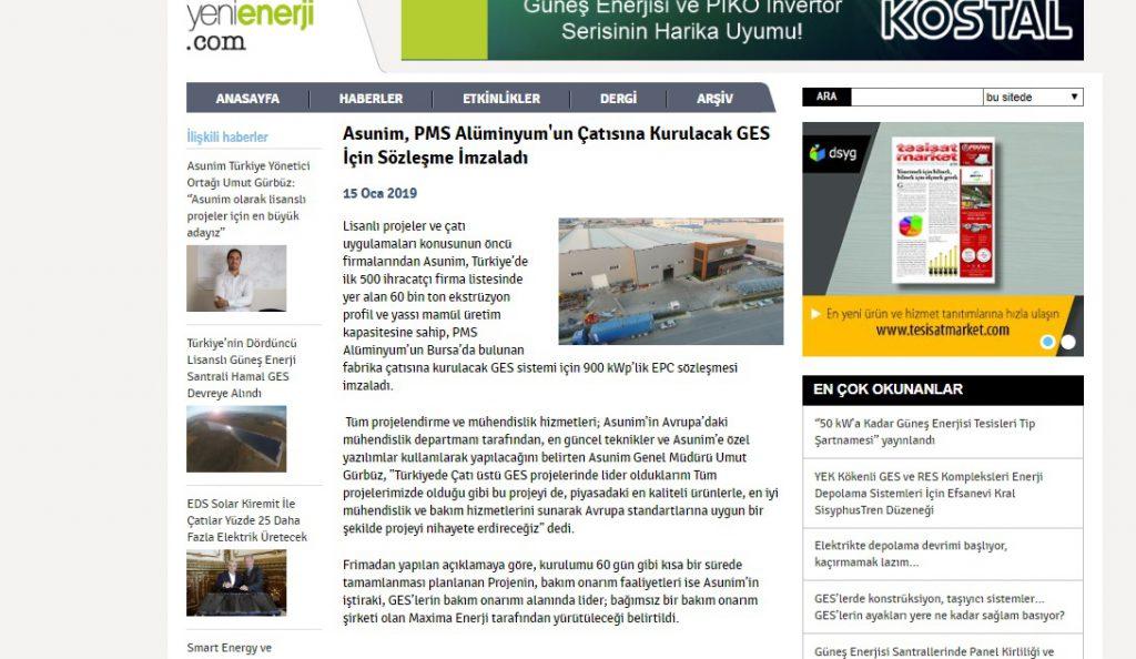 Asunim, PMS Alüminyum'um Çatısına Kurulacak GES İçin Sözleşme İmzaladı